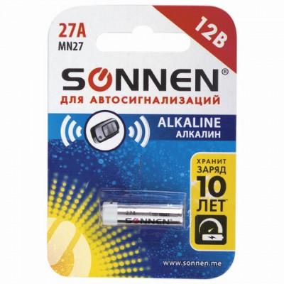 Батарейка SONNEN Alkaline, 27А (MN27), алкалиновая, для сигнализаций, 1 шт.
