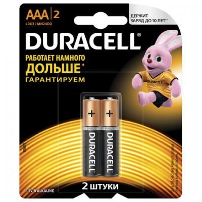 Батарейки DURACELL Basic, AAA (LR03, 24А), алкалиновые, КОМПЛЕКТ 2 шт.