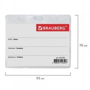 Бейдж горизонтальный (60х90 мм), с держателем-рулеткой 70 см, BRAUBERG
