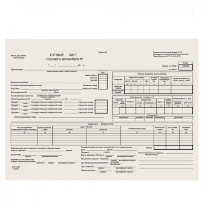 """Бланк """"Путевой лист грузового автомобиля без талона"""", (200х272 мм), СКЛЕЙКА 100 шт."""