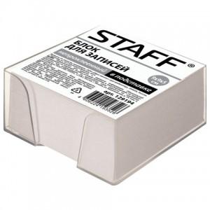 Блок для записей STAFF в подставке прозрачной, куб 9х9х5 см, белый, белизна 70-80%