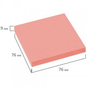 Блок самоклеящийся (стикеры), BRAUBERG, НЕОНОВЫЙ, 76х76 мм, 90 листов, розовый