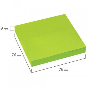 Блок самоклеящийся (стикеры), BRAUBERG, НЕОНОВЫЙ, 76х76 мм, 90 листов, зеленый