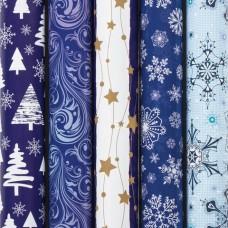 """Бумага упаковочная новогодняя 70х100 см ЗОЛОТАЯ СКАЗКА """"Blue Collection"""", 5 дизайнов, 70 г/м2"""