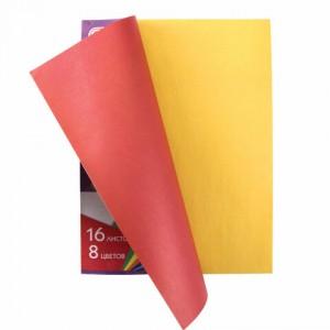 Цветная бумага А4 2-сторонняя газетная, 16 листов 8 цветов, на скобе, ПИФАГОР, 200х280 мм
