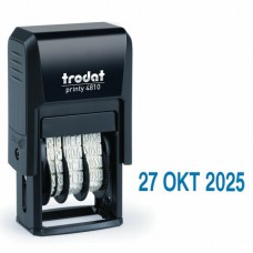 Датер-мини месяц буквами, оттиск 20*4мм синий, TRODAT 4810, корпус черный