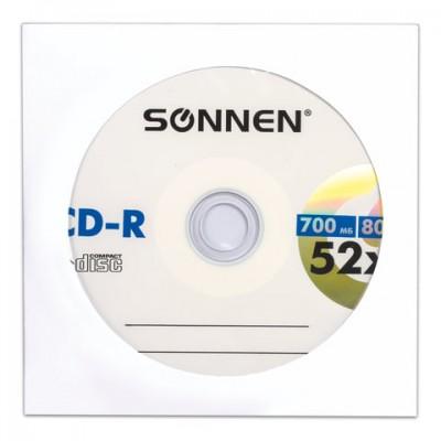 Диск CD-R SONNEN, 700 Mb, 52x, бумажный конверт (1 штука)