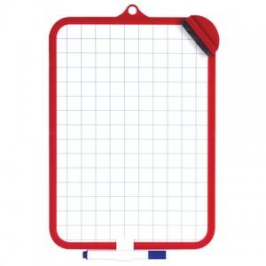 Доска для рисования двусторонняя с маркером и губкой (185х260 мм), клетка, подвес, ПИФАГОР