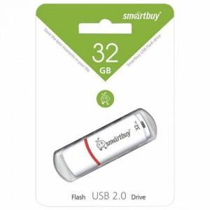 Флеш-диск 32 GB, SMARTBUY Crown, USB 2.0, белый