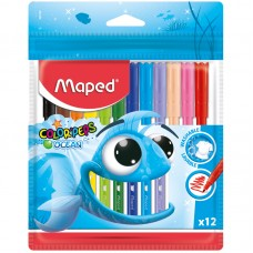 """Фломастеры Maped """"Color Pep's Ocean"""", 12цв., смываемые"""