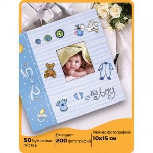 """Фотоальбом BRAUBERG """"It's a boy"""" на 200 фото 10х15 см, твердая обложка, бумажные страницы, бокс, голубой"""