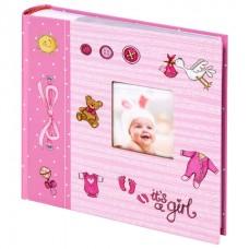 """Фотоальбом BRAUBERG """"It's a girl"""" на 200 фото 10х15 см, твердая обложка, бумажные страницы, бокс, розовый"""