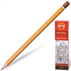 Карандаш чернографитный KOH-I-NOOR 1500, 1 шт., 7H, без резинки, корпус желтый, заточенный