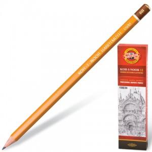 Карандаш чернографитный KOH-I-NOOR 1500, 1 шт., 8B, без резинки, корпус желтый, заточенный