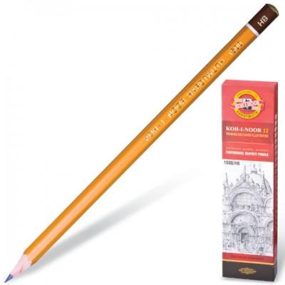 Карандаш чернографитный KOH-I-NOOR 1500, 1 шт., HB, без резинки, корпус желтый