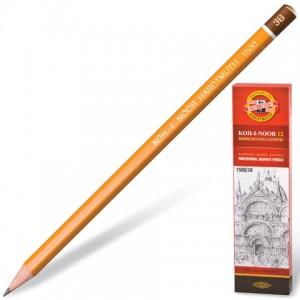 Карандаш чернографитный KOH-I-NOOR 1500, 1шт., 3B, без резинки, корпус желтый
