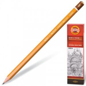 Карандаш чернографитный KOH-I-NOOR 1500 5B, без резинки, корпус желтый, заточенный