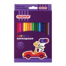 """Карандаши цветные ПИФАГОР """"ЖИРАФ"""", 18 цветов, пластиковые, классические заточенные"""