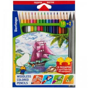 """Карандаши цветные пластиковые Berlingo """"Корабли"""", 18цв.+2 ч/г HB, заточен."""