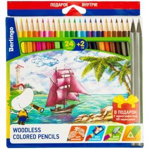 """Карандаши цветные пластиковые Berlingo """"Корабли"""", 24цв.+2 ч/г HB, заточен."""
