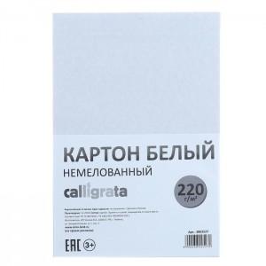 Картон белый А4, 6 листов, 220 г/м2 Calligrata, немелованный, ЭКОНОМ