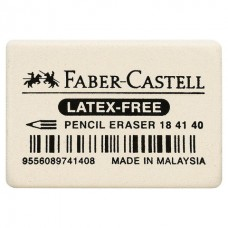 "Ластик FABER-CASTELL ""Latex-Free"", 37x25x7 мм, белый, прямоугольный"