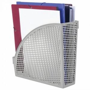"""Лоток вертикальный для бумаг STAFF """"Profit"""", 270х100х250 мм, сетчатый, полипропилен, серый"""