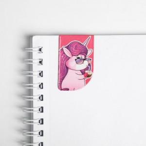 Магнитные закладки Unicorn time на открытке, 4 шт