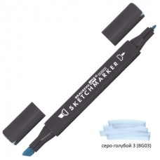 Маркер для скетчинга двусторонний 1 мм - 6 мм BRAUBERG ART CLASSIC, СЕРО-ГОЛУБОЙ 3 (BG03)