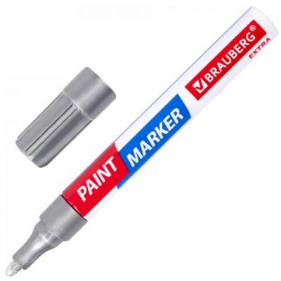 Маркер-краска лаковый EXTRA (paint marker) 4 мм, СЕРЕБРЯНЫЙ, УЛУЧШЕННАЯ НИТРО-ОСНОВА, BRAUBERG