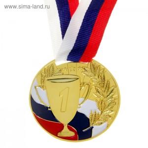 "Медаль призовая ""1 место"" 013 метал, лента триколор, диаметр 50мм"