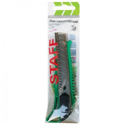 """Нож универсальный 18 мм STAFF """"PRO"""", усиленный, металлические направляющие, автофиксатор, ассорти"""