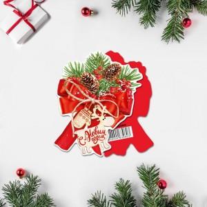Открытка под конфету «С Новым Годом!» бант, шишки, 9 × 9 см
