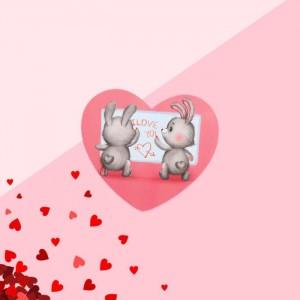 "Открытка-валентинка ""I love you"" зайки, 7,1 x 6,1 см"