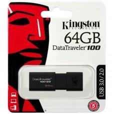 """Память Kingston """"DT100G3"""" 64GB, USB 3.0 Flash Drive, черный"""