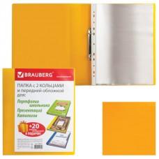 Папка для портфолио и презентаций, 2 кольца, 20 файлов, пластик, желтая, BRAUBERG