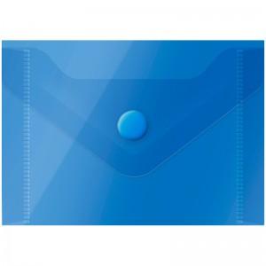 Папка-конверт на кнопке OfficeSpace, А7 (74*105мм), 150мкм, полупрозрачная, синяя