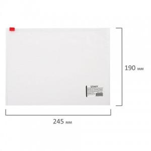 Папка-конверт на молнии МАЛОГО ФОРМАТА (245х190 мм), А5, прозрачная, 0,12 мм, STAFF