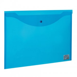 Папка-конверт с кнопкой БОЛЬШОГО ФОРМАТА (310х430 мм), А3, прозрачная, синяя, 0,18 мм, BRAUBERG