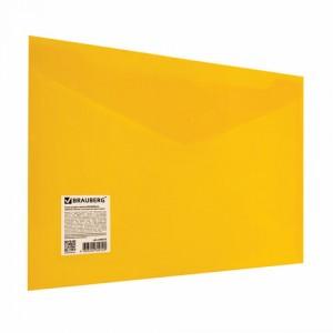 Папка-конверт с кнопкой BRAUBERG А4 до 100 л. непрозрачная желтая СВЕРХПРОЧНАЯ 0,2 мм