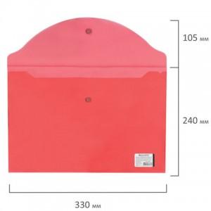 Папка-конверт с кнопкой BRAUBERG, А4, до 100 листов, прозрачная, красная, 0,15 мм