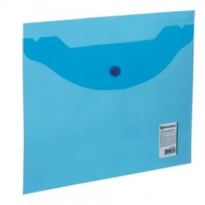 Папка-конверт с кнопкой МАЛОГО ФОРМАТА (240х190 мм), А5, прозрачная, синяя, 0,18 мм, BRAUBERG