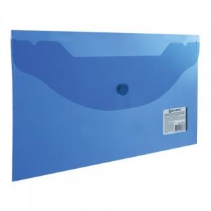Папка-конверт с кнопкой МАЛОГО ФОРМАТА (250х135 мм), прозрачная, синяя, 0,18 мм, BRAUBERG