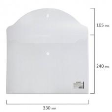 Папка-конверт с кнопкой STAFF, А4, до 100 листов, прозрачная, 0,12 мм