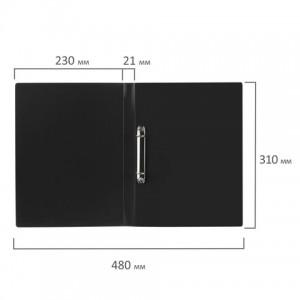 Папка на 2 кольцах STAFF, 21 мм, черная, до 170 листов, 0,5 мм