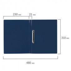 Папка на 2 кольцах STAFF, 21 мм, синяя, до 170 листов, 0,5 мм