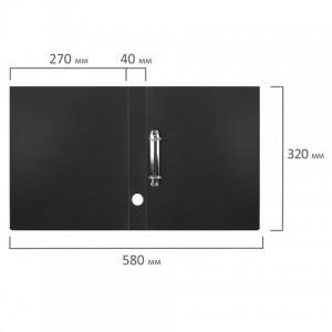 Папка на 2 кольцах STAFF, 40 мм, черная, до 300 листов, 0,5 мм