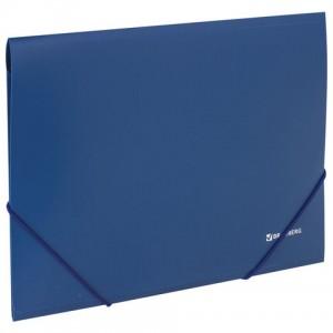 Папка на резинках BRAUBERG, стандарт, синяя, до 300 листов, 0,5 мм