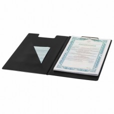 Папка-планшет BRAUBERG, А4 (340х240 мм), с прижимом и крышкой, картон/ПВХ, РОССИЯ, черная