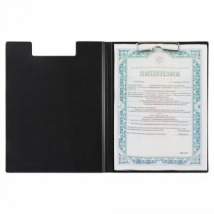 Папка-планшет STAFF, А4 (310х230 мм), с прижимом и крышкой, пластик, черная, 0,5 мм